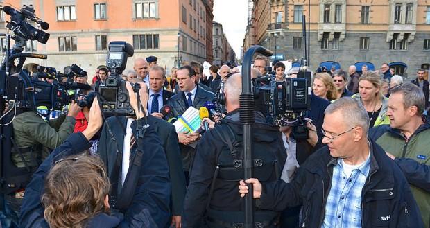 Anders Borg på budgetpromenad 2011